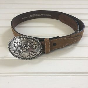 Nocona Boys Leather Belt & Buckle Size 26